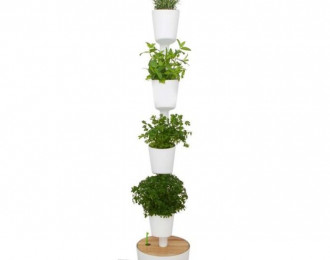 Jardin vertical CitySens avec arrosage automatique intelligent – Blanc – 4 pots